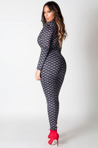 Zariah Sexy Deep V Neck Long Sleeves Printed Bodycon Jumpsuit in Black