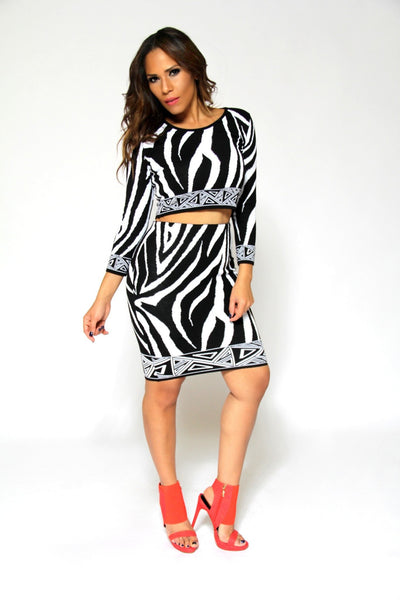 Zebra Print Knit Quarter Sleeve Crop Top And High Waist Skirt Sexy Set - MY SEXY STYLES  - 2
