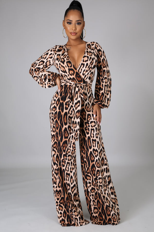 Zhavia Animal Print Long Sleeve Jumpsuit