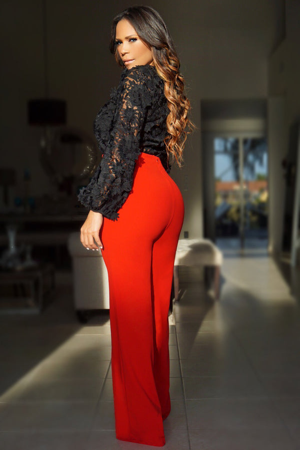 Zoey Lion Buckle High Waist Pants W/ Gold Button Details
