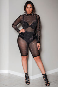 Zola Bejeweled Mock Neck Clubbing Long Sleeves Biker Sheer Romper