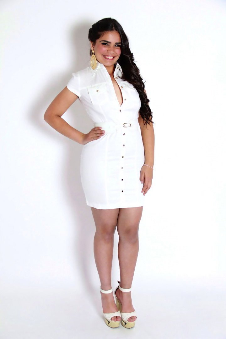 Belted White Short Sleeves Button Up Dress - MY SEXY STYLES
