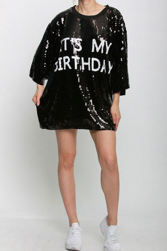 It's My Birthday Sequins T-Shirt Dress