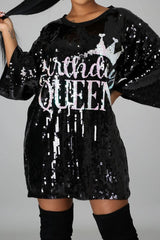 Birthday Queen Sequins T-Shirt Dress