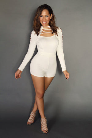 Ivory Long Sleeves Romper Jumpsuit With Cutouts - MY SEXY STYLES