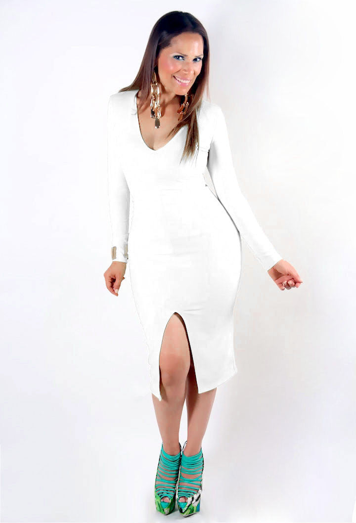 Celebrity Inspired White V-Neck Long Sleeves Front Open Slit Dress - MY SEXY STYLES