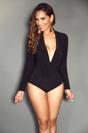 Black Plunging V-Neck Long Sleeve Bodysuit Top - MY SEXY STYLES