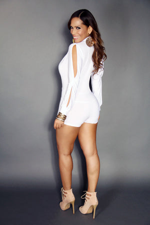 Sexy Low V-neck White Long Sleeved Short Romper Jumpsuit - MY SEXY STYLES