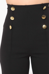 Daisy Black High Waist Pants W/ Gold Button Details