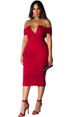 Gemma Sexy V Neck Off The Shoulder Bodycon Midi Dress