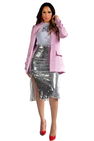 Ana Satin Basic Pink Blazer Jacket