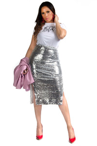 Joanna High Waist Silver Sequin Midi Skirt