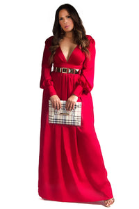 Goddess V Neck Satin Puff Sleeves Red Maxi Dress