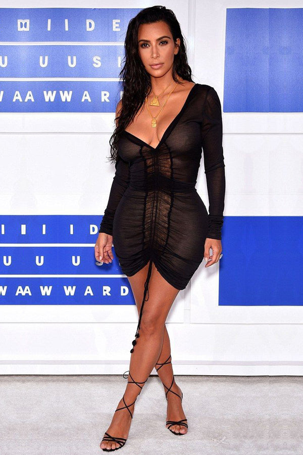 Kim Kardashian Inspired Black on Nude Ruched Mini Dress