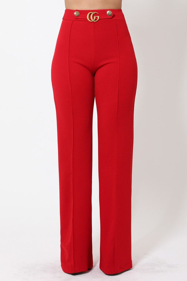 Gina CG Buckle and Button Detail High Waist Pants in Red
