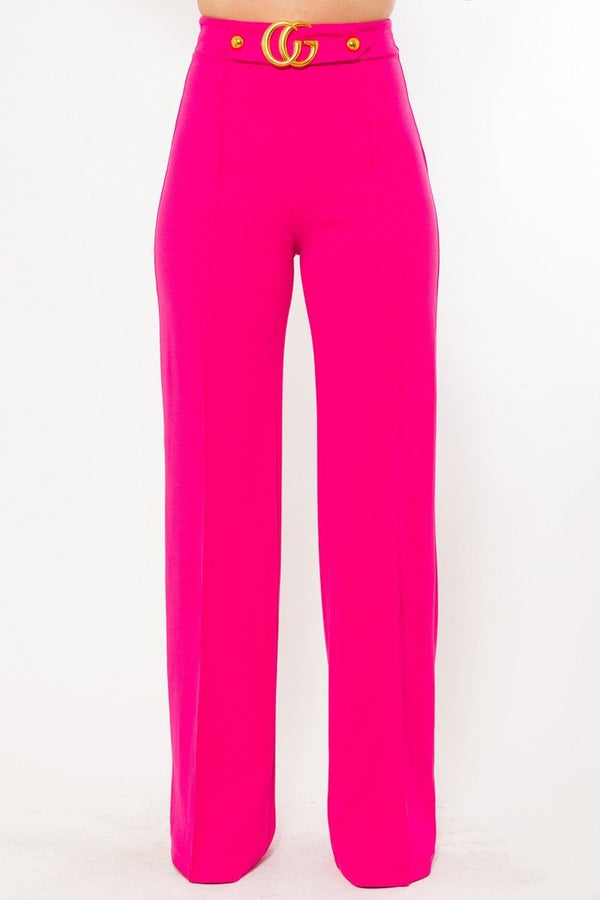 Gina Oversized CG Buckle High Waist Pants