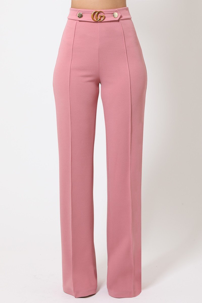 Gina Interlocked G Buckle and Button Detail High Waist Pants in Mauve