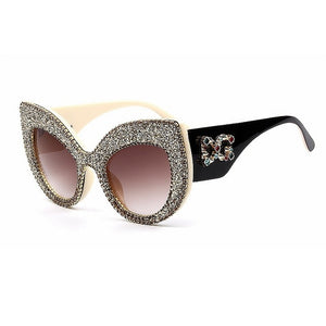 Designer Luxury Cat Eye Vintage Oversized Sunglasses