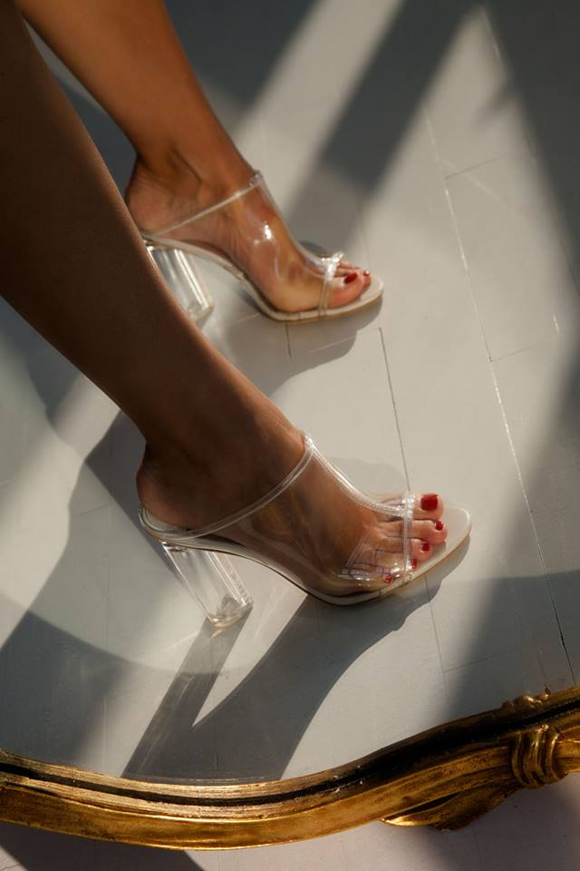 Sexy PU Square Heel Clear Sandal Pumps