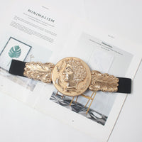 Women's Luxury Coin Designer Elastic Gold Belt