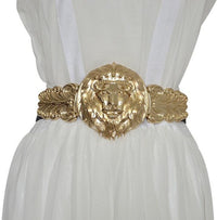Women's Fashion Gold Lion Buckle Elastic Belt