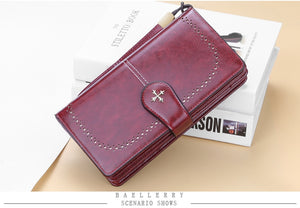 Hollow Out Large Long PU Leather Fashion Wallet