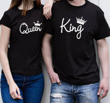 King Queen Letter Crown Print Couples T-Shirt