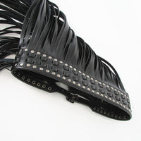 Fringe Fashion Designer Leather Black Belt