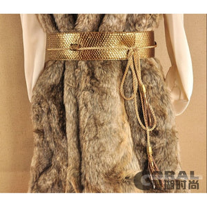 Snake Faux Leather Rope Tie Belt