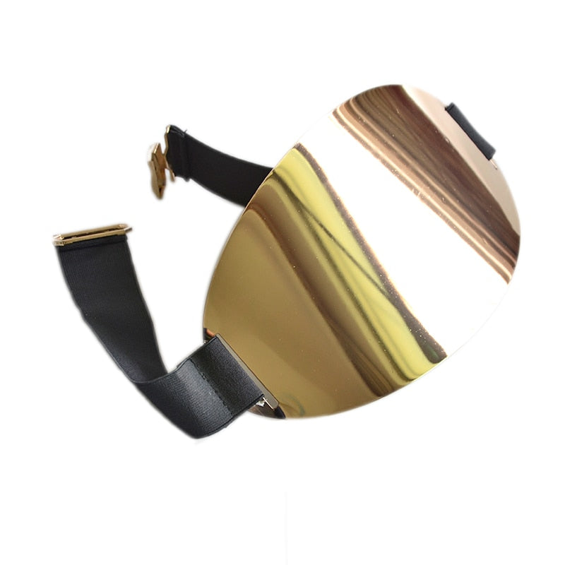 Bling Shiny Wide Oval Gold Metal Plate Mirror Elastic Belt
