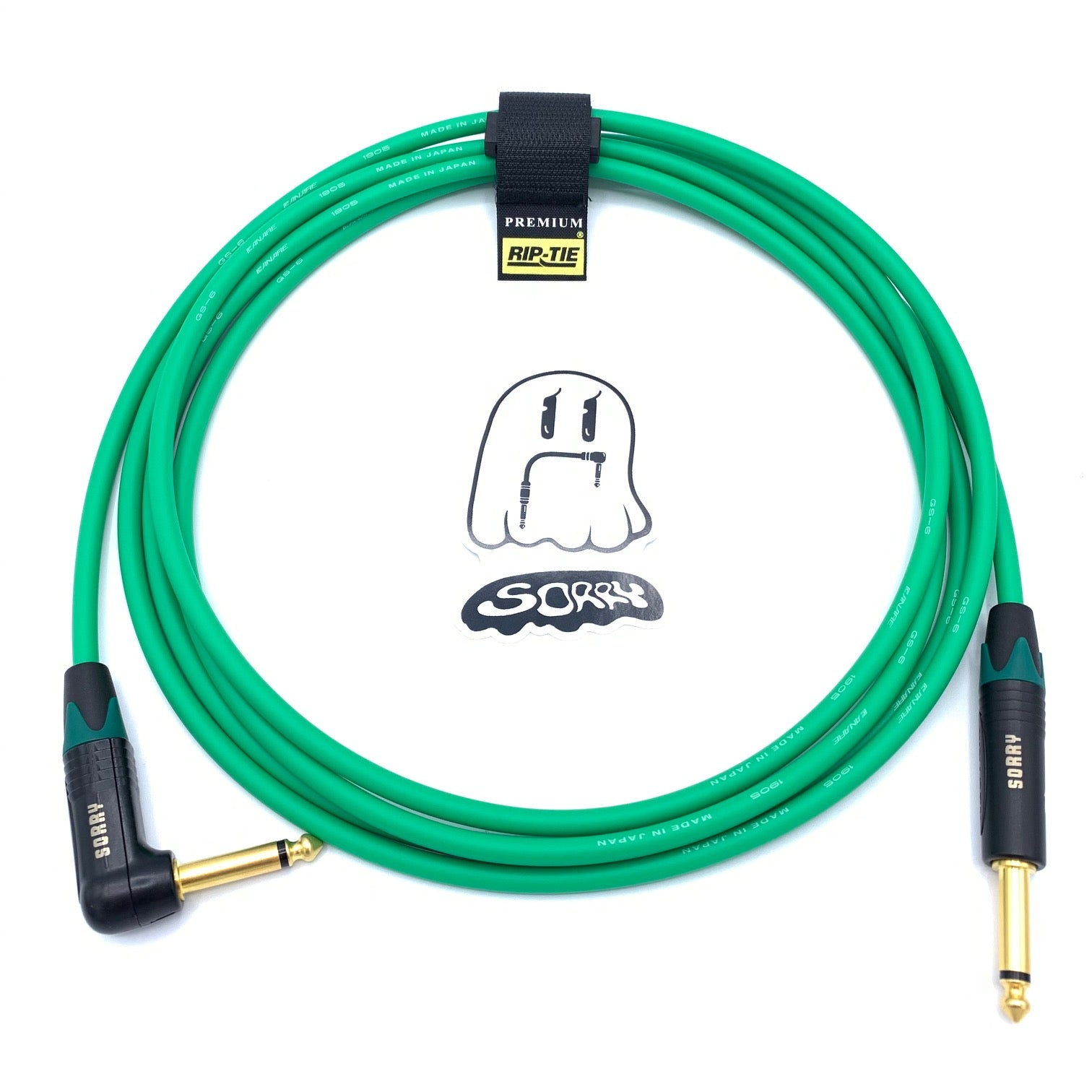 SORRY Straight to Right Angle Guitar / Instrument Cable - Standard Green
