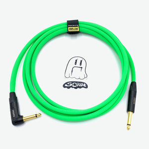 SORRY Straight to Right Angle Guitar / Instrument Cable - Neon Green