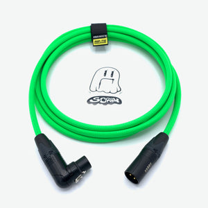 SORRY Straight Male to Right Angle Female XLR Cable - Neon Green