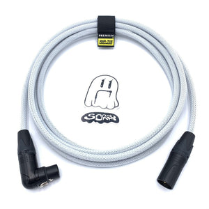 SORRY Straight Male to Right Angle Female XLR Cable - White