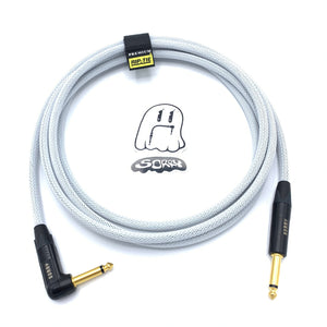 SORRY Straight to Right Angle Guitar / Instrument Cable - White