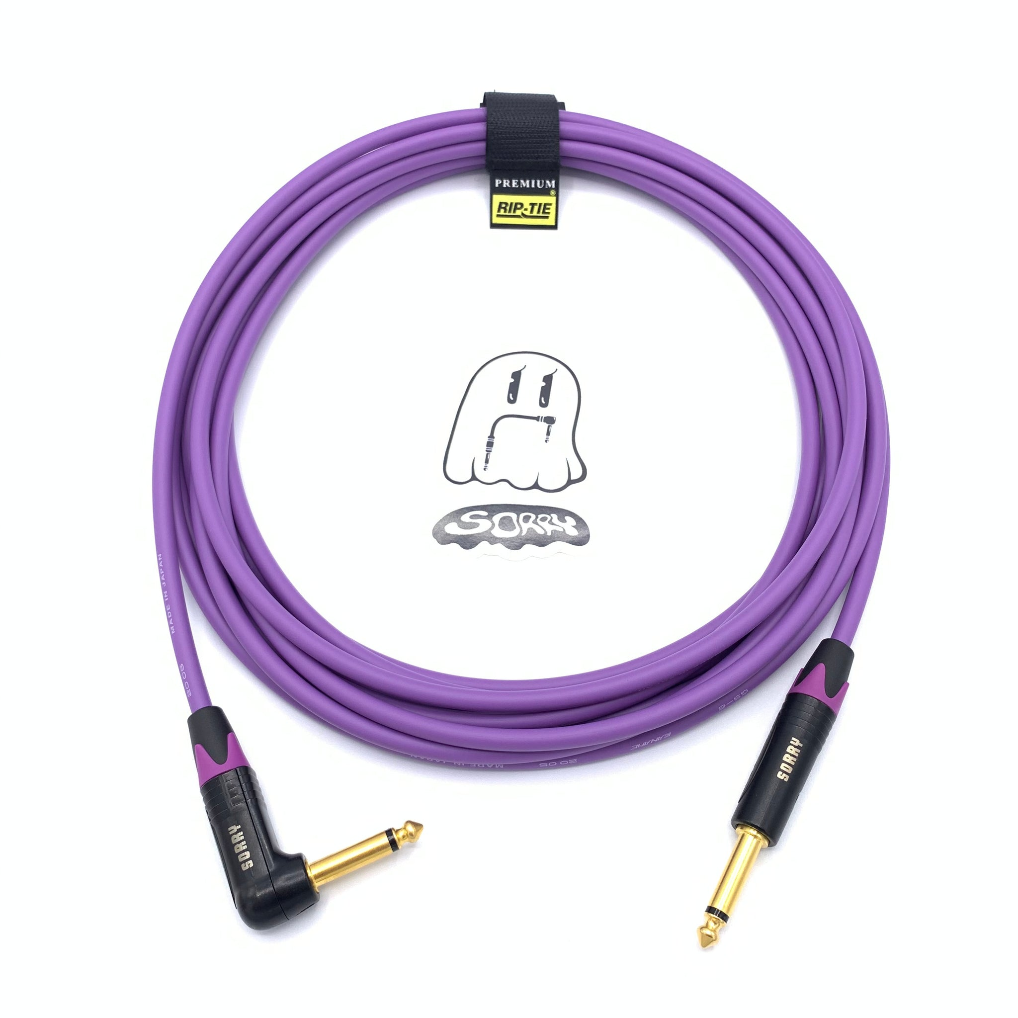 SORRY Straight to Right Angle Guitar / Instrument Cable - Purple