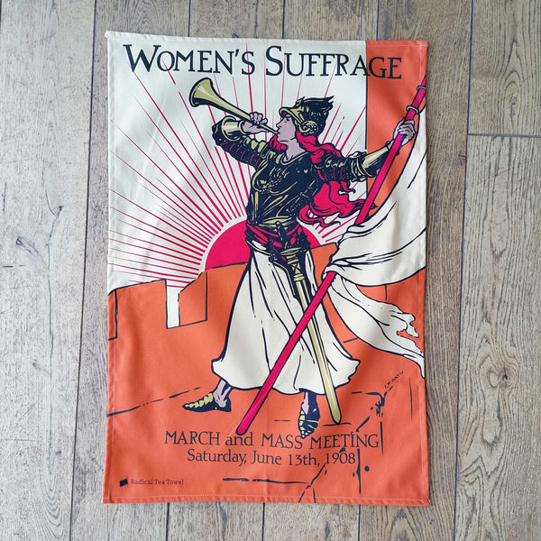 Bugler Girl tea towel, illustrated with figure with bugle calling to action | Image courtesy of People's History Museum shop