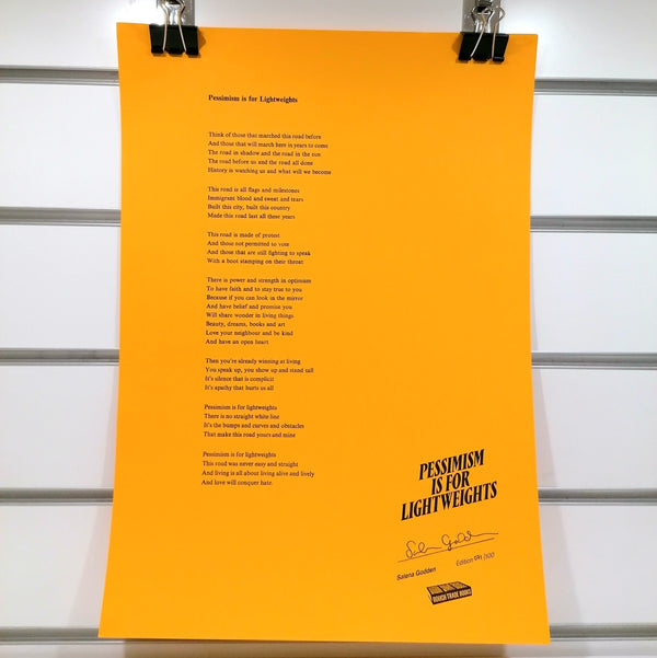 Pessimism is for Lightweights poem by Salena Godden, A3 letterpress print | Image courtesy of People's History Museum shop