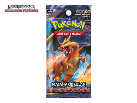 Pokemon Sealed Indonesian Matahari & Bulan Hantaman Pertama Set A Charizard Booster pack
