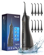 Cargar imagen en el visor de la galería, Water Flossers for Teeth, Fairywill 300ML Cordless Dental Oral Irrigator, 3 Modes and 8 Jet Tips, IPX7 Waterproof, USB Charged for 21-Days Use, Oral Irrigator for Travel, Office