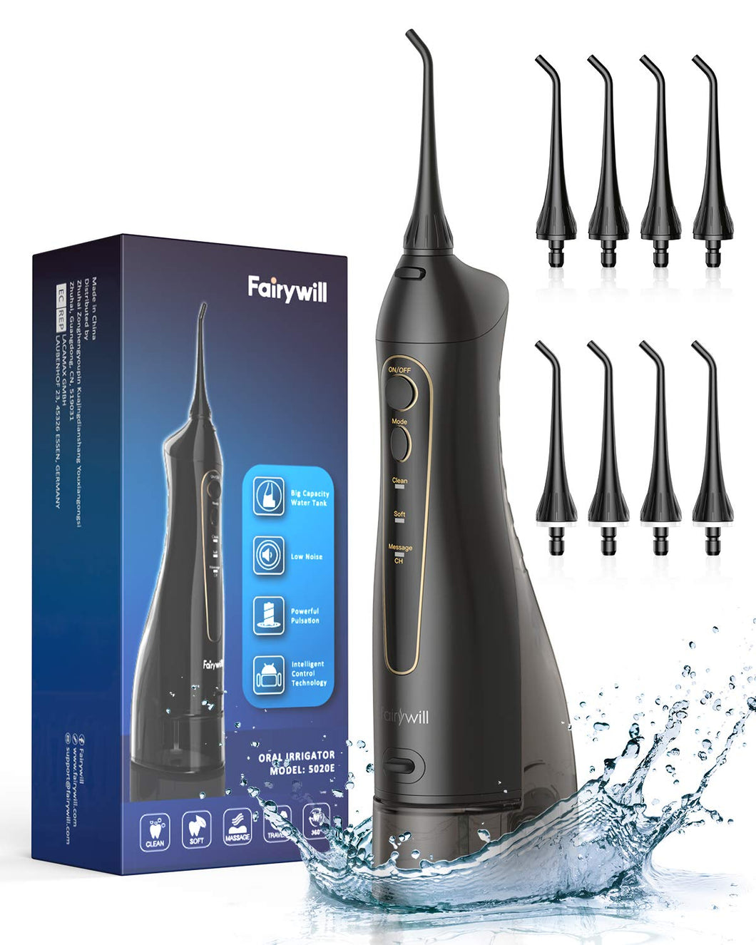 Water Flossers for Teeth, Fairywill 300ML Cordless Dental Oral Irrigator, 3 Modes and 8 Jet Tips, IPX7 Waterproof, USB Charged for 21-Days Use, Oral Irrigator for Travel, Office