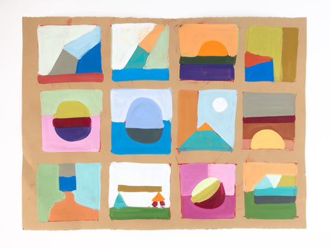 Original painting that was used to extract all of the shapes for the compositions.