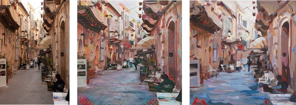 Photograph paired with CycleGAN result paired with final painting