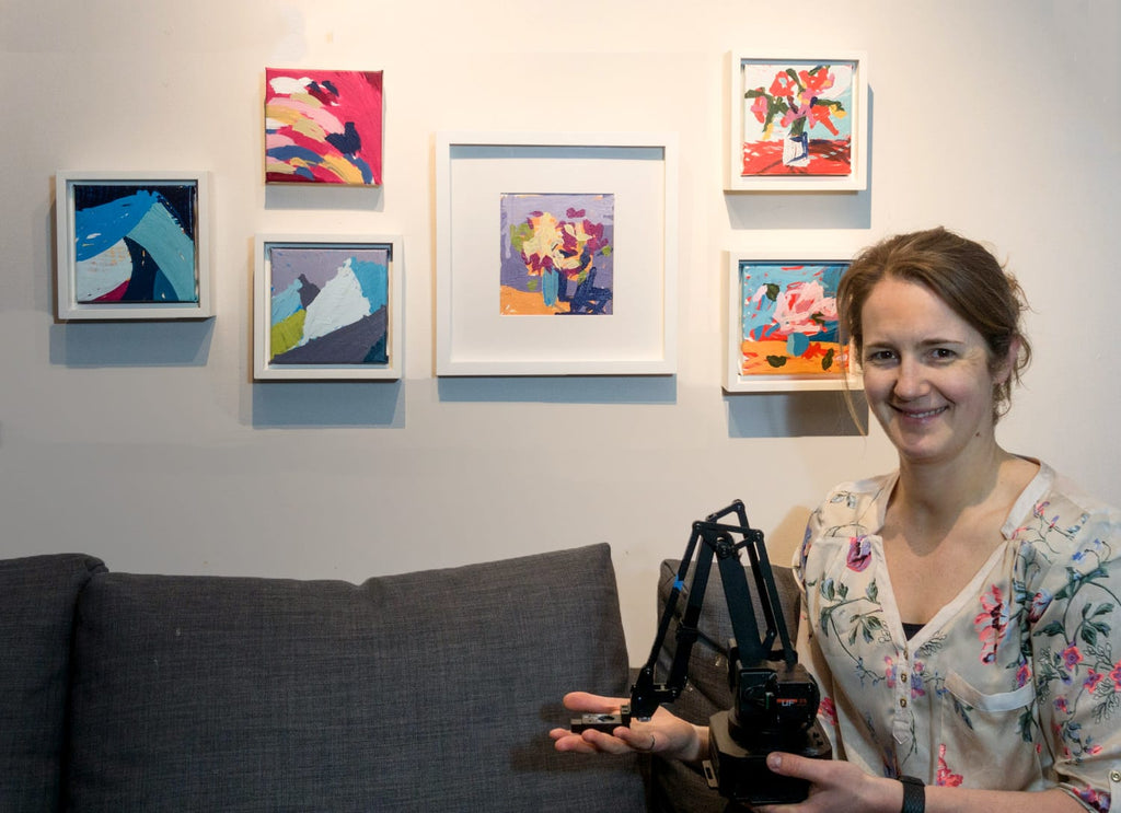 Joanne Hastie with her first Robot Paintings