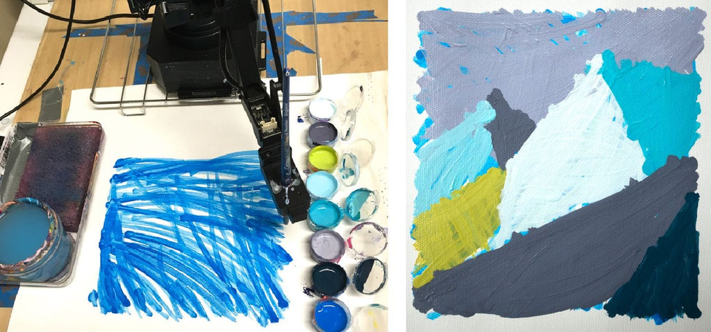 Using a robot to do underpainting by Joanne Hastie