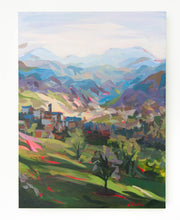 Load image into Gallery viewer, Original Landscape Painting by Joanne Hastie of the colorful Italian hillside in Marche province
