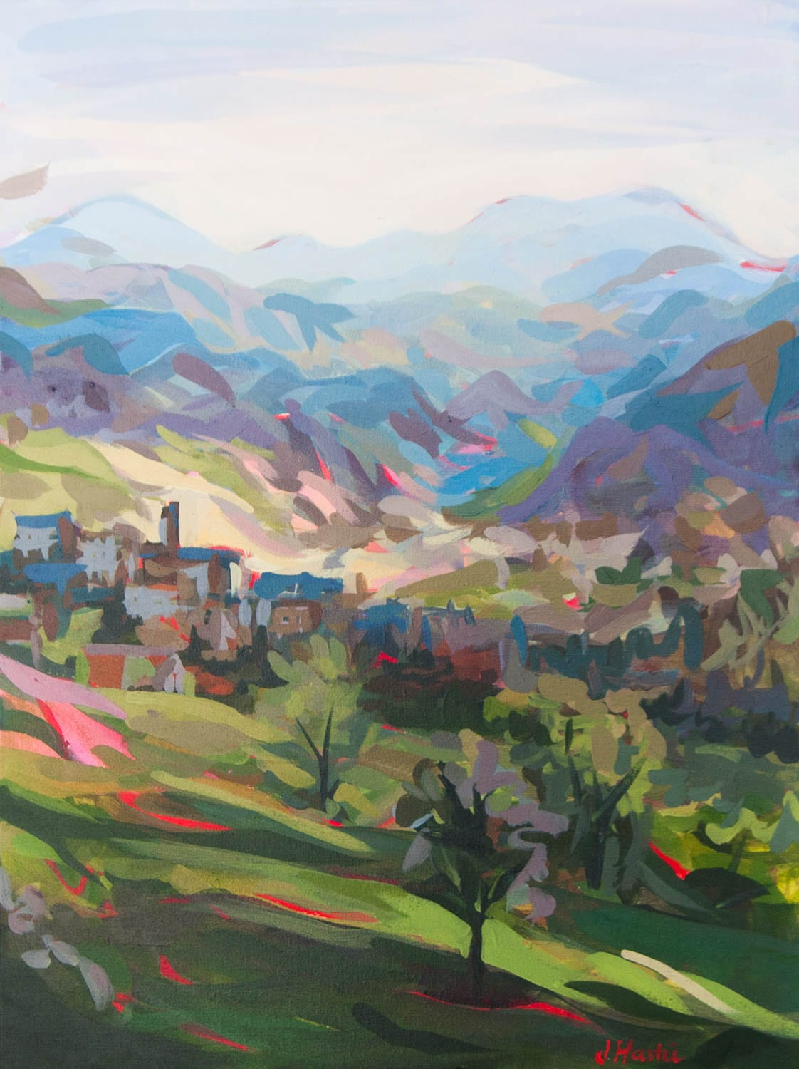 Original Landscape Painting by Joanne Hastie of the colorful Italian hillside in Marche province