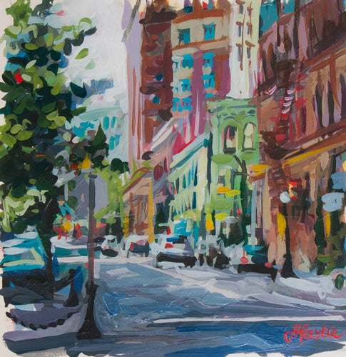 Original painting of city street in gastown vancouver