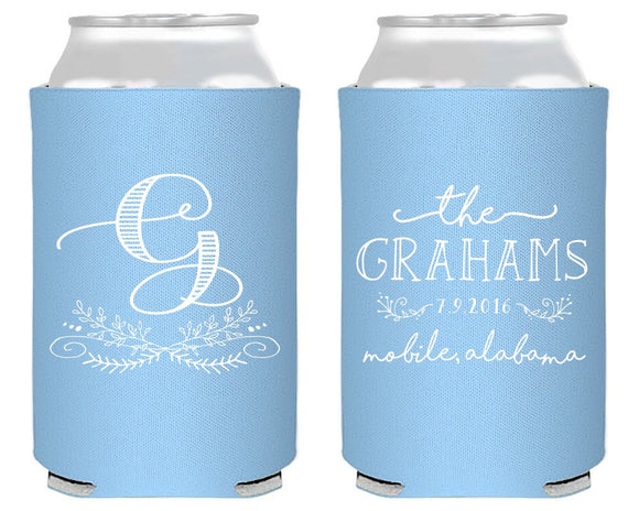 Personalized Monogram Wedding Can Coolers #1422