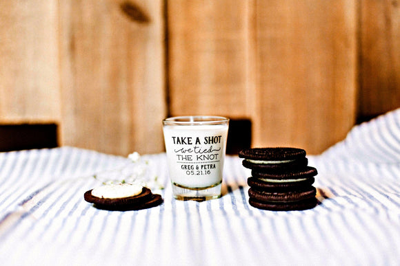 Take a Shot We Tied the Knot Wedding Shot Glass Design #1446